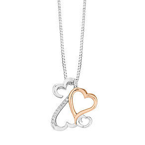 Open Hearts By Jane Seymour Silver & 9ct Rose Gold Pendant - Product number 3853799