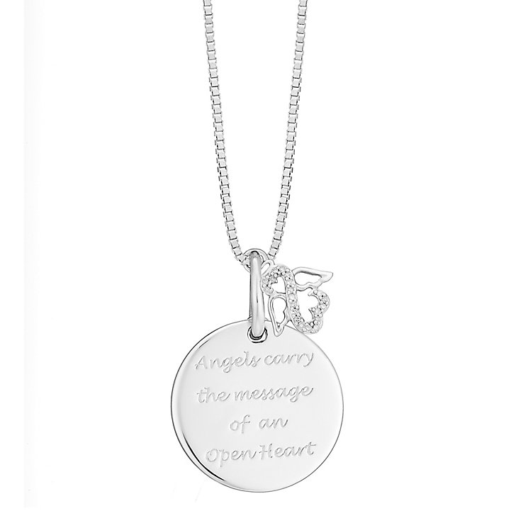 Open Hearts By Jane Seymour Silver & Diamond Angel Pendant - Product number 3853802