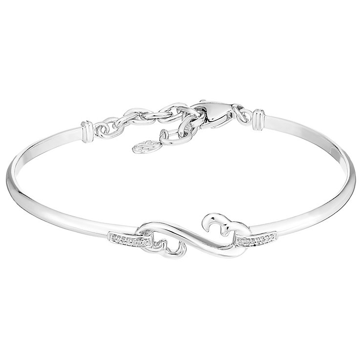 Open Hearts By Jane Seymour Sterling Silver & Diamond Bangle - Product number 3853837