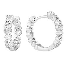 Open Hearts By Jane Seymour Silver & Diamond Hoop Earrings - Product number 3853845