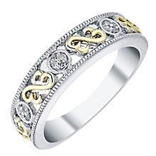 Open Hearts By Jane Seymour Silver & 9ct Gold Eternity Ring - Product number 3854736