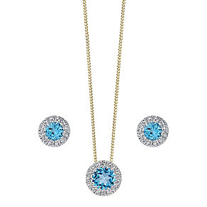 9ct gold Blue Topaz and Diamond earrings & pendant set - Product number 3858340