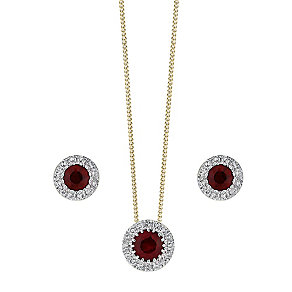 9ct Yellow Gold Ruby and Diamond earrings & pendant set - Product number 3858359