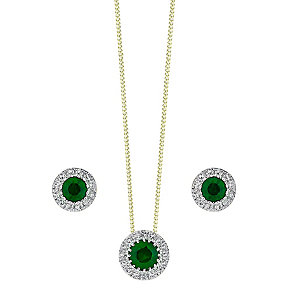 9ct Yellow Gold Emerald and Diamond earrings & pendant set - Product number 3858405