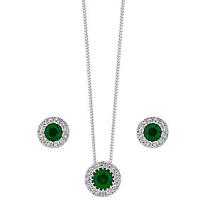 9ct white gold Emerald and Diamond earrings & pendant set - Product number 3858413
