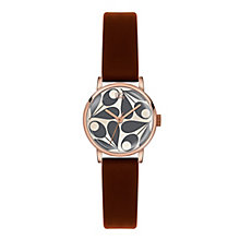 Orla Kiely Ladies' Cream Dial Black Leather Strap Watch - Product number 3860760