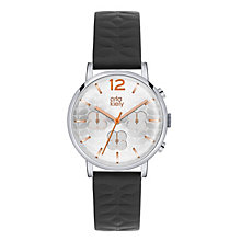 Orla Kiely Ladies' Silver Dial Black Leather Strap Watch - Product number 3860809