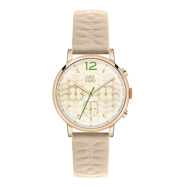 Orla Kiely Ladies' Cream Dial Nude Leather Strap Watch - Product number 3860817