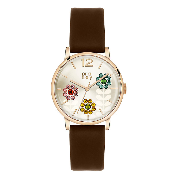 Orla Kiely Ladies' Gold Dial Brown Leather Strap Watch - Product number 3861007