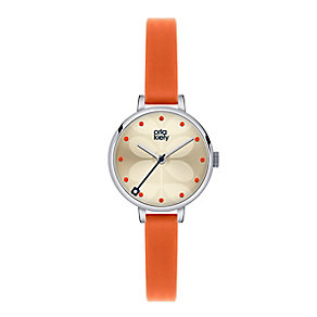 Orla Kiely Ladies' Cream Dial Orange Leather Strap Watch - Product number 3861023