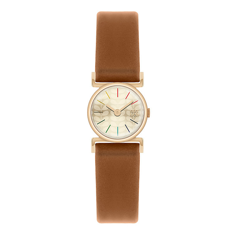 Orla Kiely Ladies' Gold Dial Tan Leather Strap Watch - Product number 3861260