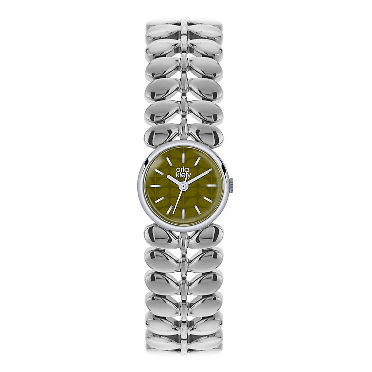 Orla Kiely Ladies' Olive Dial Stainless Steel Bracelet Watch - Product number 3861295