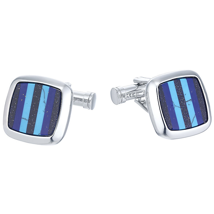 Ted Baker Stainless Steel Blue Stripe Cufflinks - Product number 3862534