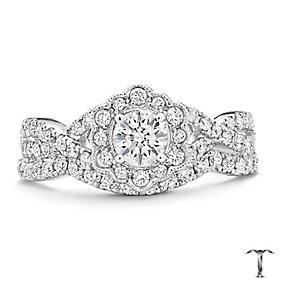 Tolkowsky 18ct white gold 1ct diamond halo bridal set - Product number 3864057