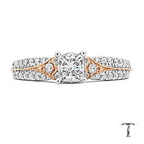 Tolkowsky 18ct white & rose gold 3/4ct diamond ring - Product number 3864480