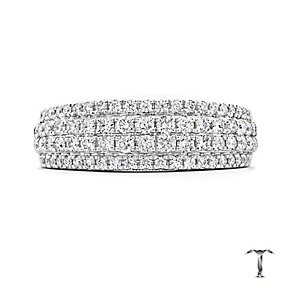 Tolkowsky 18ct white gold 3/4ct diamond four row band - Product number 3865398