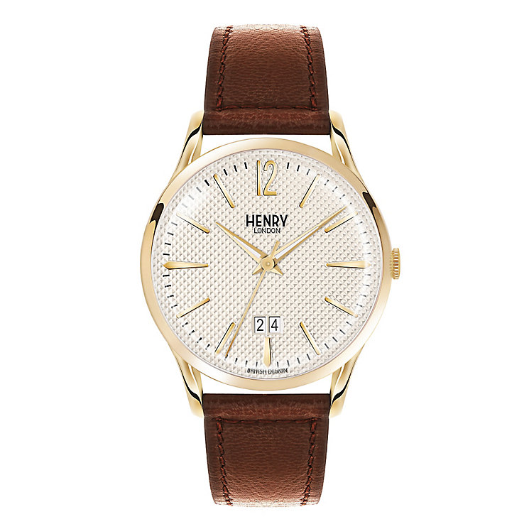 Henry London Men's Westminster Gold Dial Leather Strap Watch - Product number 3870820