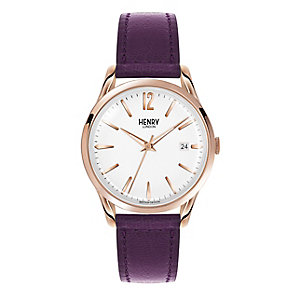 Henry London Ladies' Silver Dial Purple Leather Strap Watch - Product number 3870855