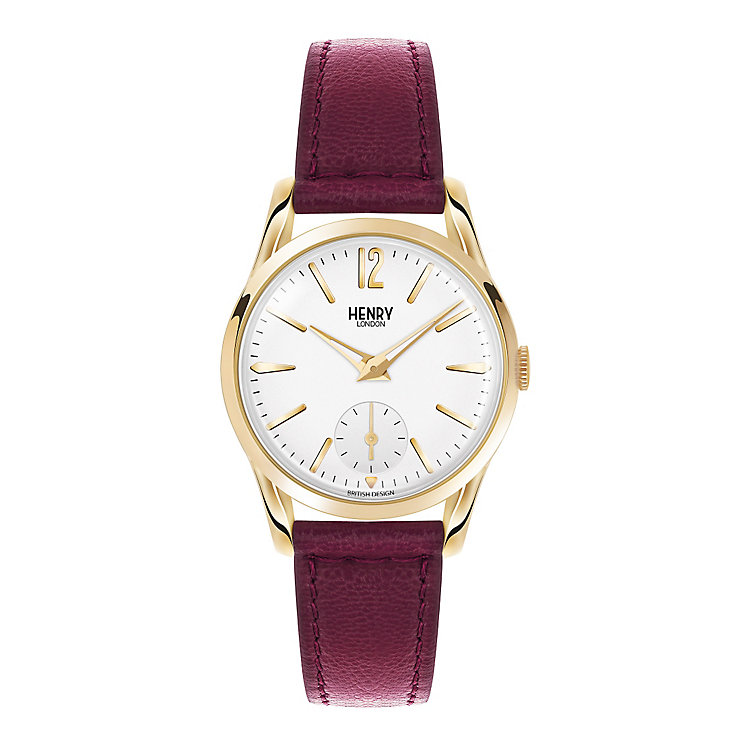 Henry London Ladies' Holborn Burgundy Leather Strap Watch - Product number 3870979