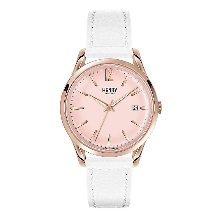 Henry London Ladies' Rose Dial White Leather Strap Watch - Product number 3871274