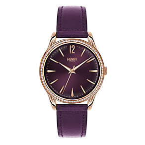 Henry London Ladies' Purple Dial Purple Leather Strap Watch - Product number 3871509