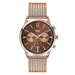 Henry London Men's Rose Gold-Plated Mesh Bracelet Watch - Product number 3871517