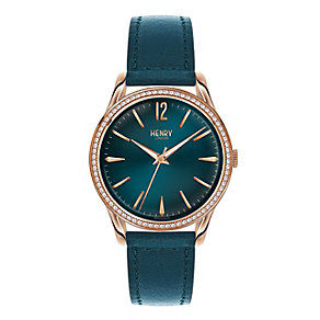 Henry London Ladies' Silver Dial Green Leather Strap Watch - Product number 3871525