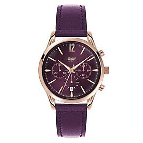 Henry London Ladies' Purple Dial Purple Leather Strap Watch - Product number 3871533