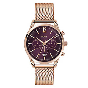 Henry London Ladies' Rose Gold-Plated Mesh Bracelet Watch - Product number 3871541