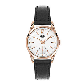 Henry London Ladies' Silver Dial Black Leather Strap Watch - Product number 3871576
