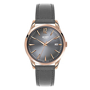 Henry London Ladies' Grey Dial Grey Leather Strap Watch - Product number 3871592
