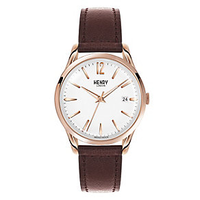 Henry London Ladies' Silver Dial Brown Leather Strap Watch - Product number 3871606