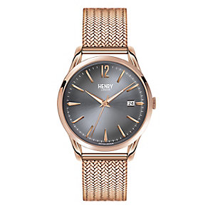 Henry London Ladies' Rose Gold-Plated Mesh Bracelet Watch - Product number 3871614
