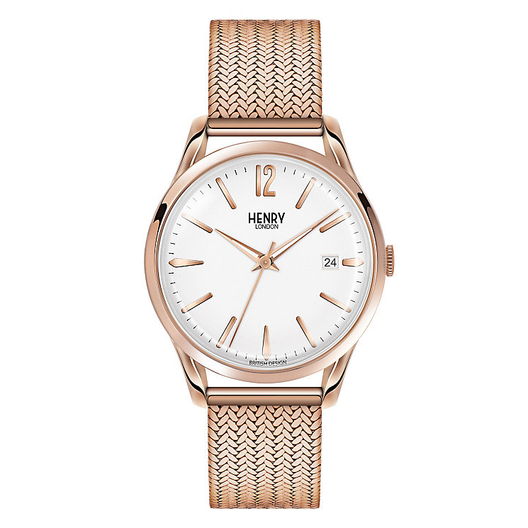 Henry London Ladies' Rose Gold-Plated Mesh Bracelet Watch - Product number 3871622