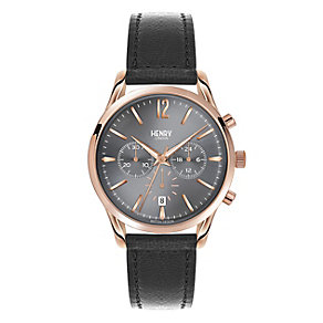 Henry London Men's Grey Dial Grey Leather Strap Watch - Product number 3871630