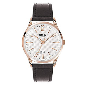 Henry London Men's Silver Dial Black Leather Strap Watch - Product number 3871649