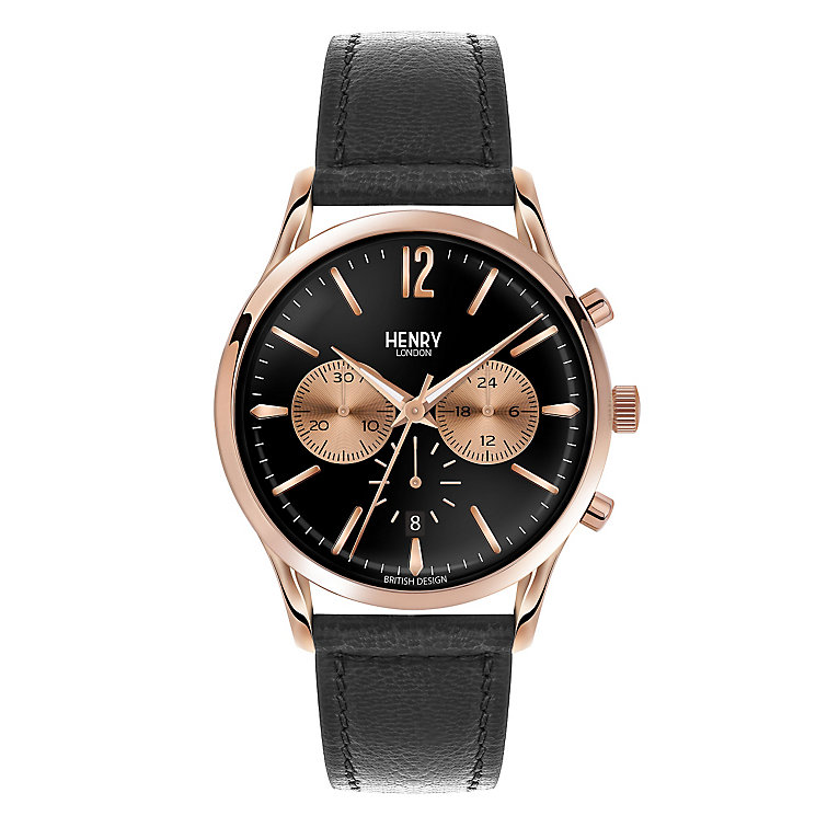 Henry London Men's Black Dial Black Leather Strap Watch - Product number 3871819