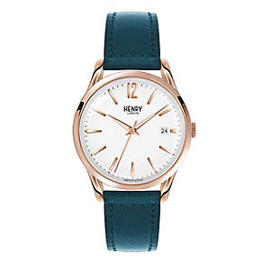 Henry London Ladies' White Dial Green Leather Strap Watch - Product number 3871843