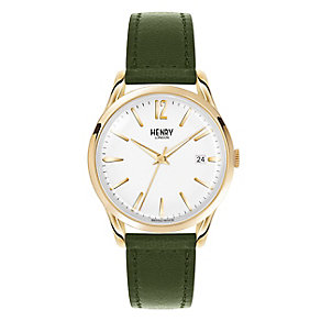 Henry London Ladies' Silver Dial Green Leather Strap Watch - Product number 3871851