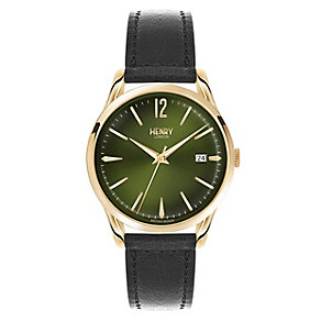 Henry London Men's Green Dial Black Leather Strap Watch - Product number 3871878