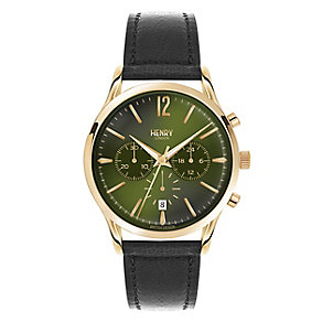 Henry London Men's Green Dial Black Leather Strap Watch - Product number 3871894