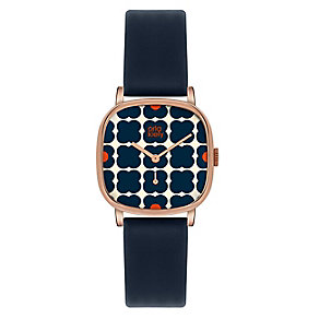 Orla Kiely Ladies' Square Dial Navy Leather Strap Watch - Product number 3878007