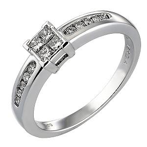 18ct White Gold Quarter Carat Princessa Ring