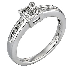 Platinum Quarter Carat Princessa Diamond Ring