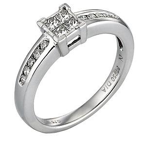 Platinum Quarter Carat Princessa Diamond Ring - Product number 3881431