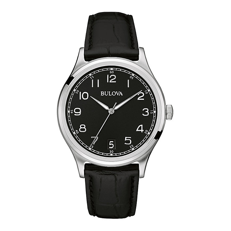 Bulova Men's Round Black Dial Black Leather Strap Watch - Product number 3883760