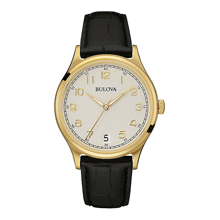 Bulova Men's Round Silver Dial Black Leather Strap Watch - Product number 3883787