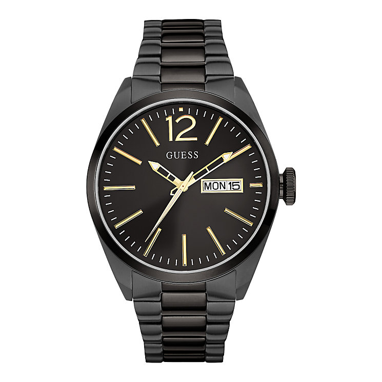 Guess Men's Black Dial Black Ion-Plated Bracelet Watch - Product number 3883809