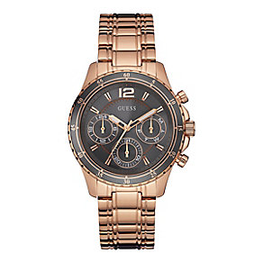 Guess Ladies' Grey Dial Rose Gold-Plated Bracelet Watch - Product number 3883825