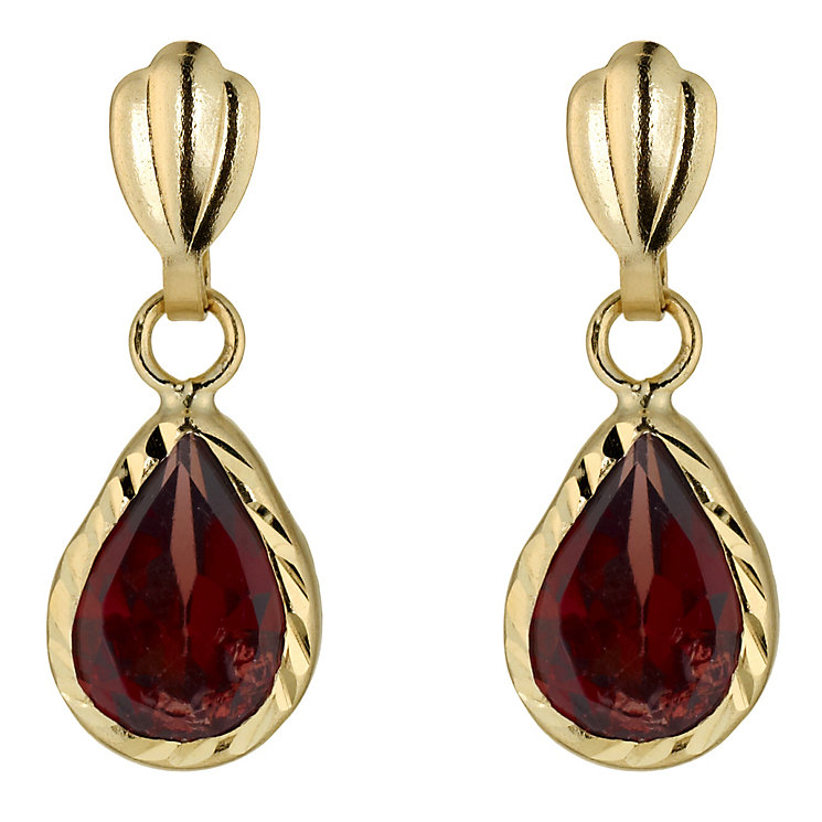 Gold Garnet Drop Earrings - Product number 3887707